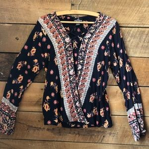 Angie | Boho Cross-front Floral Print Blouse